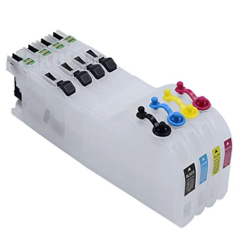 INKUTEN 4 Refillable Cartridges for Brother LC103 LC101 (Empty) DCP-J152W MFC-J245 MFC-J285DW MFC-J450 470 475DW MFC-J650DW MFC-J870 875DW MFC-J4310 4410 4510 4610 4710 MFC-J6520 6720 6920DW