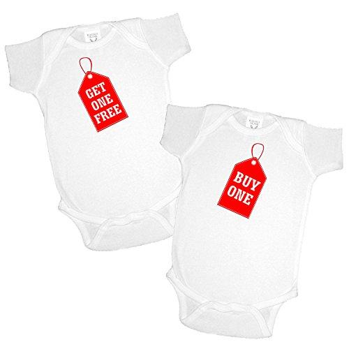 2 Pack Buy One Get One Free Infant Twins Bodysuit Onesie White Newborn 0 6 Month