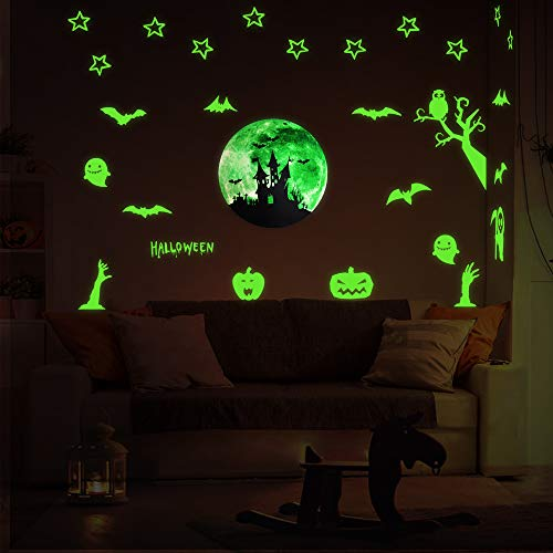 VIVREAL Halloween Wall Decals, Glow in The Dark Wall Stickers for Halloween Decorations, Luminous Decals Glow Stickers with Zombie Pumpkin Ghost Halloween Decor for Kids Room Door Window ()