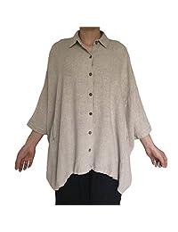 Aeneontrue Women's Raglan Sleeve Casual Loose Linen Blouses Tunic Tops
