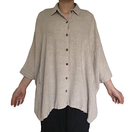 (Aeneontrue Women's Raglan Sleeve Casual Linen Button Down Shirts Blouses Tunic Tops With Pockets Beige)