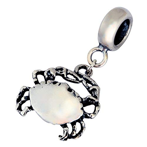 (Sterling Silver King Crab Charm Animal Bead fit All Charm Bracelet for Women Girls Mother's Gifts EC12)