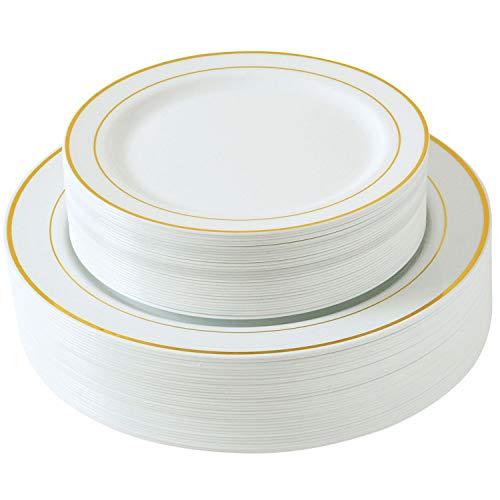 Select Settings [60 COUNT] White with Gold Trim Plastic Plates: 30 Dinner Plates and 30 Salad Plates (Ivory Rimmed Dinner Plate)