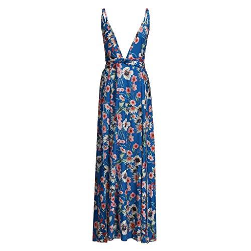 Huifa Women Summer Boho Strappy Long Dresses Deep V Neck Party Beach Gown (Blue,XL)