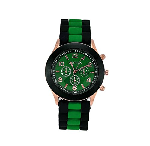 Unisex Silicone Sports Quartz Watches Green - 5