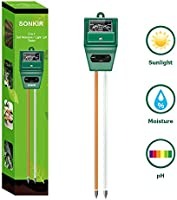 Sonkir Soil pH Meter, MS02 3-in-1 Soil Moisture/Light/pH Tester Gardening Tool Kits for Plant Care, Great for Garden,...