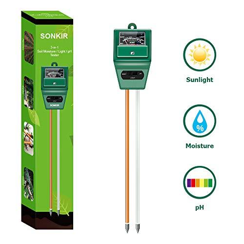Sonkir Soil Ph Meter Ms02 3 In 1 Soil Moisture Light Ph Tester Gardening Tool Kits For Plant Care Great For Garden Lawn Farm Indoor Outdoor Use Green