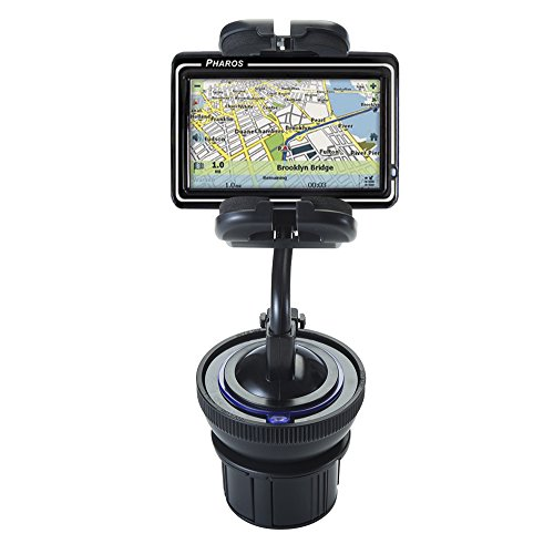 Flexible Pharos Drive 250n Car / Truck Mounting System Features Both Cupholder and Flexible Windshield Suction Mounts (Pharos Gps Systems)
