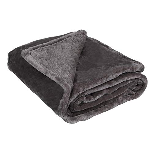 DAHLIA HOME Fleece Microfiber Throw Blanket, Luxury Charcoal Gray Twin Size Lightweight Cozy Couch Bed Super Soft and Warm Plush Solid Color - Plush Soft Super
