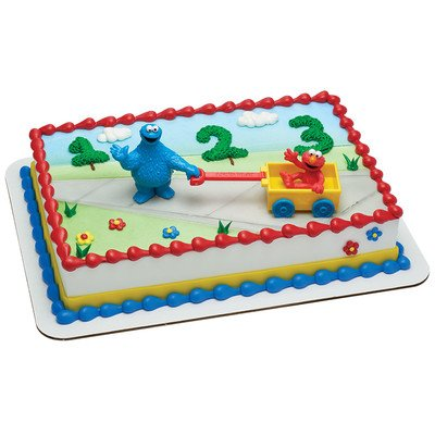 Sesame Street Elmo and Cookie Monster Let's Play Cake Topper (Baby Sesame Street Party Supplies)