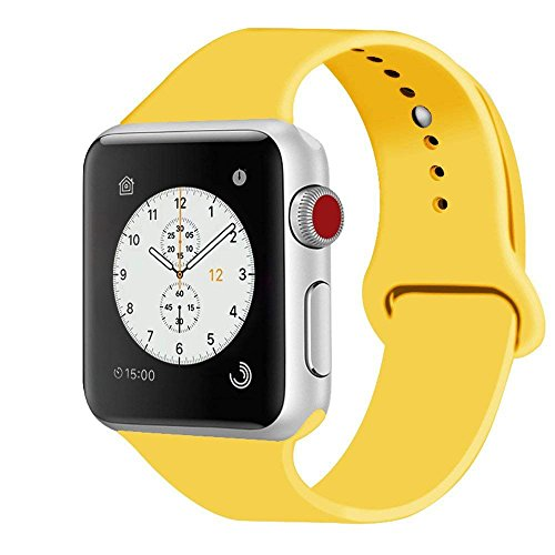 - iDon Smart Watch Sport Band, Soft Silicone Replacement Sports Band compatible for Apple Watch Band 42mm 2017 Series 3 Series 2 Series 1 All Models(S/M, Yellow)