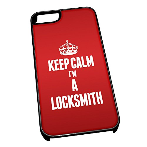 Nero cover per iPhone 5/5S 2623 Red Keep Calm I m A Locksmith