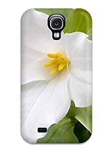 Awesome White Flowers Flip Case With Fashion Design For Galaxy S4