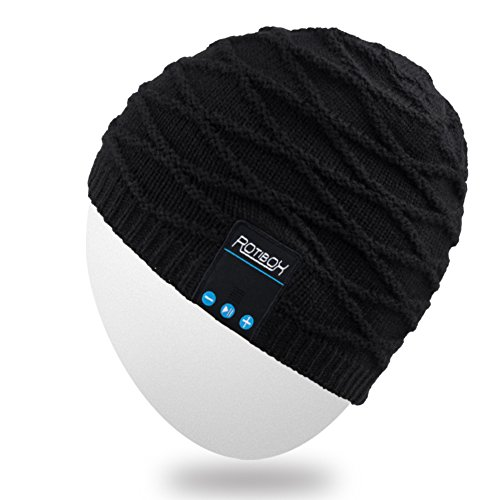 Rotibox Rechargeable Bluetooth Audio Beanie Hat Fashional Double Knit Skully Cap w/Wireless Stereo Headphone Headset Earpiece Speakerphone Mic for Sports Skating Hiking Camping Black