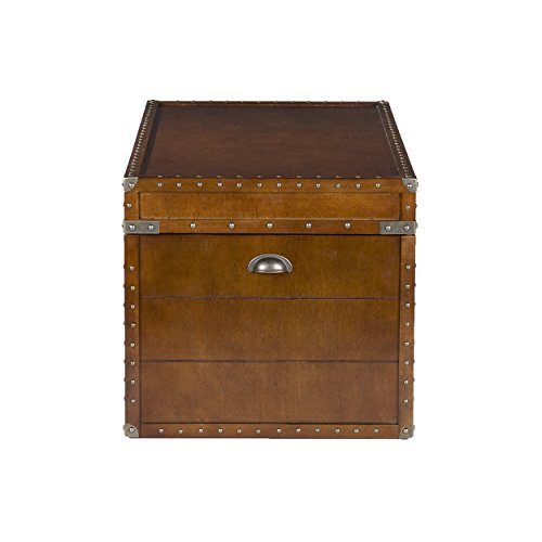 037732041919 - Southern Enterprises Steamer Storage Trunk Cocktail Table, Walnut Finish carousel main 3