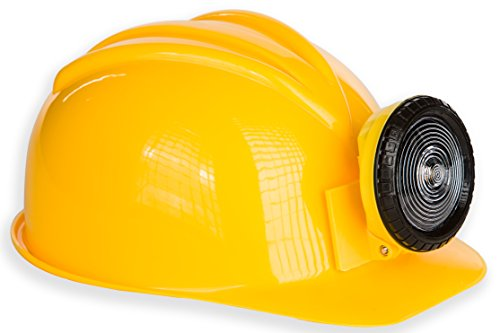 [Kangaroo Adult or Kids Adjustable Construction Miner Hard Hat with Light] (Man Construction Worker Costume)