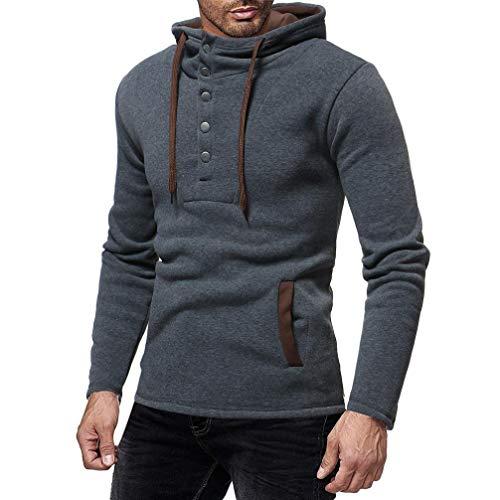 Top Longues Sweatshirt Blouse Chic Adeshop Costumes Top Capuche Gris Mode Automne Casual Chemisier Hommes Hiver À Et Grande Manches Taille Couleur Button Pure wqUpaIq