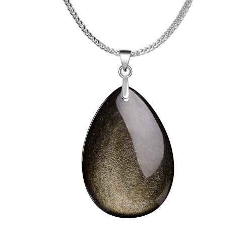 Gold Obsidian (iSTONE 925 Sterling Silver Natural Gemstone Gold Sheen Obsidian Water Dropm Pendant Necklace with 18
