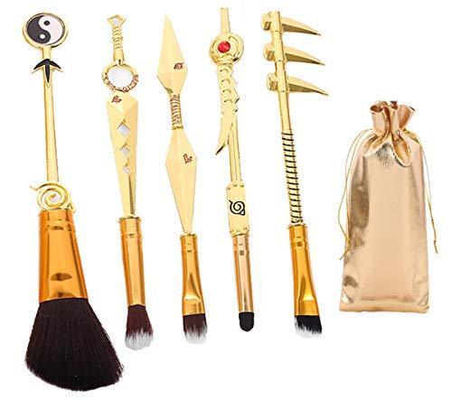 Slayer Makeup Brush Set - 5pcs Cosmetic Makeup Brush Cosplay Gift Makeup Brush Set For Women (Light-gold BRUSHES)