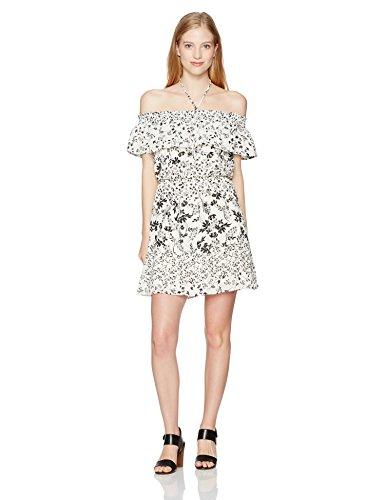 Black And Ivory Halter Dresses (My Michelle Women's Off The Shoulder Pop Over Dress with Halter Neck, Ivory/Black, S)