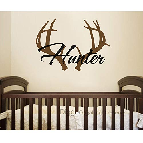 "Personalized Name Wall Decal Boy Name Vinyl Decal Deer Antler Decal Hunting Nursery Decor Boys Bedroom 21.5"" h x 30"" w"