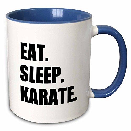 3dRose 180415_6 Eat Sleep Karate - Martial Art Enthusiast Gift - Black Text Typography Two Tone Mug, 11 oz, Multicolored