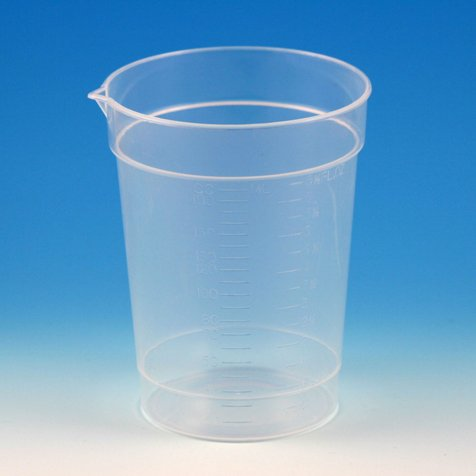 Globe Scientific 5920 Polypropylene Graduated Specimen Container Collection Cup with Pour Spout, 6.5 oz Capacity (Case of ()