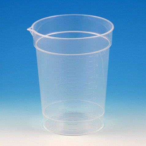Globe Scientific 5920 Polypropylene Graduated Specimen Container Collection Cup with Pour Spout, 6.5 oz Capacity (Case of 500) Collection Spout