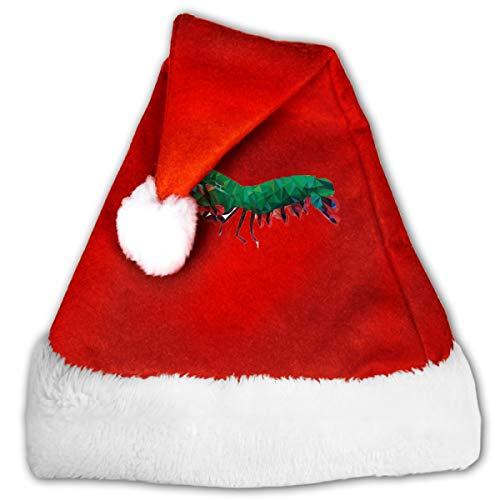 FQWEDY Geometric Abstract Peacock Mantis Shrimp Unisex-Adult's Santa Hat, Velvet Christmas Festival Hat ()