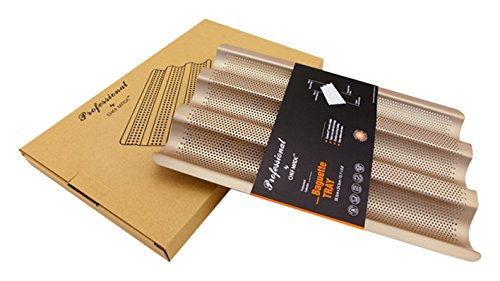 Chef Made Non-Stick Perforated Baguette Pan for French Bread Pan, Champagne, Large