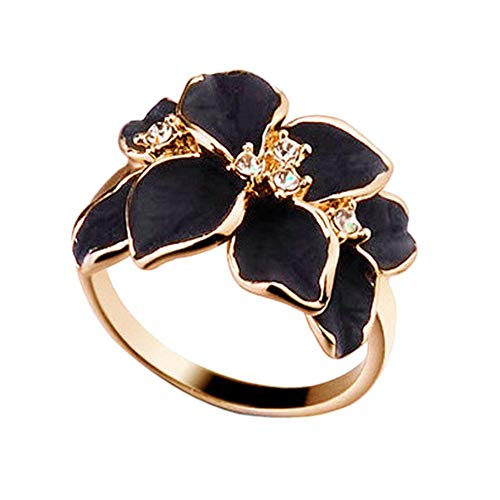 Fashion Rings, Swyss Rose Gold Plated Crystal Luxurious Black Enamel Flower Design Cocktail Ring,Black