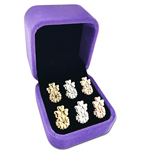 Earring Lifters,925 Sterling Silver Secure Backings,3 Pairs of Adjustable Hypoallergenic Earing Backs Lifts,Easy to Use Back Earrings for Women, Ear Lobe Support Most Posts with Jewelry Case(Clover)