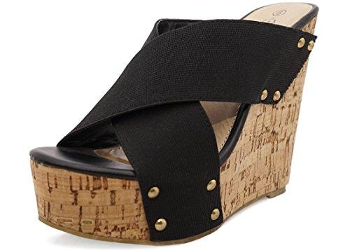 Charles Albert Women's Cork Platform Sandals - Criss Cross Band Wedges (8, (Black Wedge Slide)