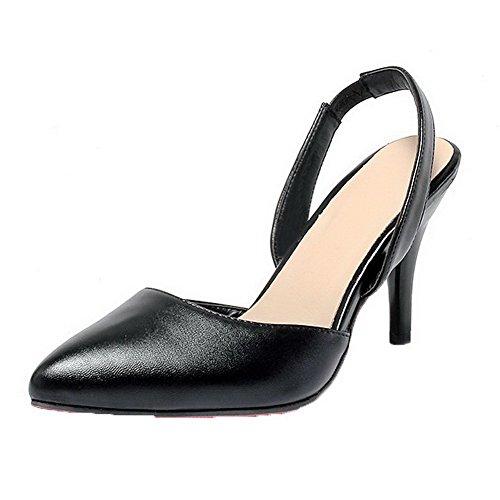AalarDom Mujer Puntera en Punta Tacón Medio Pu Sólido Sandalias de vestir Negro