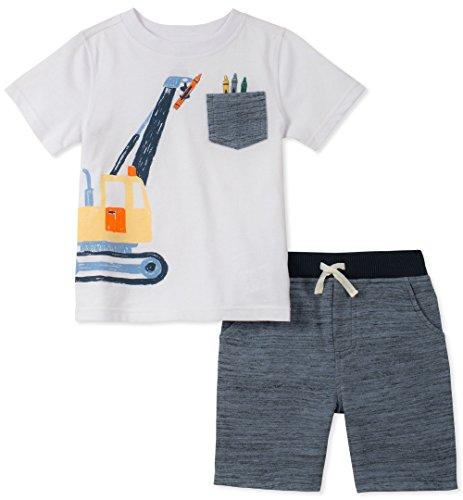 37b9fce78 Galleon - Kids Headquarters Boys' 2 Pieces Short Set, White/Heather Blue, 4T