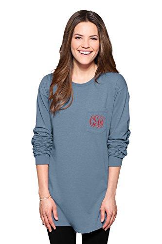 Custom Embroidered Denim Shirt (KAMAL OHAVA Custom Women's Oversized Monogrammed Pocket T-Shirt, Denim)