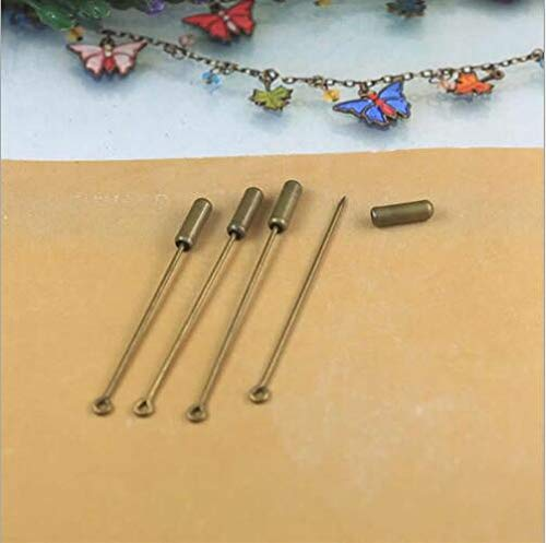 - NX Garden 20pcs Copper Brooch Metal Stick Pin DIY Handmade Jewelry Findings Long Needle Eye Pin for Lapel Scarf Hat Safety Pins with Stopper Ends Bronze Tone