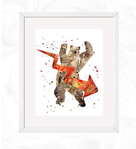 (Bear Market Prints, Stock Market Watercolor, Nursery Wall Poster, Holiday Gift, Kids and Children Artworks, Digital Illustration Art)