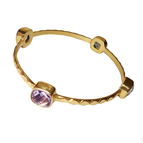 Bhagat Jewels Handmade Designer 22k Yellow Gold Vermeil Amethyst Gemstone Stackable Bangle