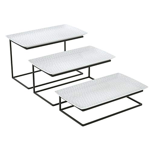 Love-KANKEI Tiered Serving Stand Tiered Serving Tray Free Combination for Party with 3 White Rectangular Platters to Display ()