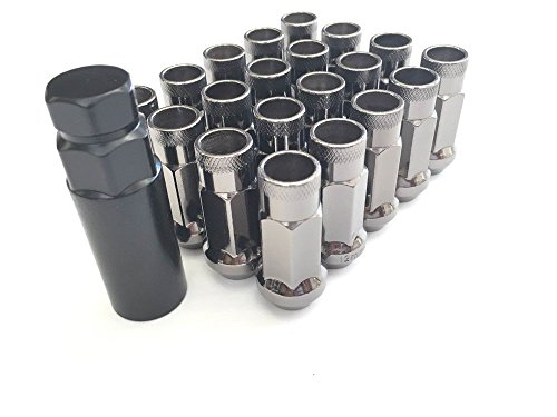 Customadeonly 20 Pieces Open End Extended Wheel Lug Nuts Gunmetal 48mm 1.89
