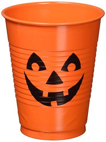 Pumpkin Plastic Cups, 16 oz.