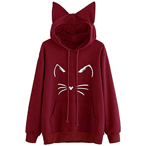 DEATU Womens Hooded Clearance Sales! Teen Womens Cute Cat Ear Long Sleeve Hoodie Sweatshirt Pullover Tops Blouse(White ,XL) from DEATU