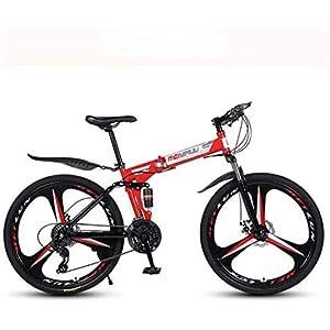 41zmTNa%2BMtL. SS300 WJJH Mountain Bike per Adulti, Telaio Pieghevole in Acciaio ad Alto tenore di Carbonio, Bici MTB a Sospensione Completa, Doppio Freno a Disco, Pedali in PVC