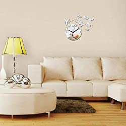 YJSMXYD Wall Clocks Direct Selling Mirror Sun Acrylic 3D DIY Crystal Quartz Art Watch Silver Silent Sports Living Room Bedroom Children's Room Home Decor Office Hotel Creative Gift