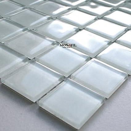 Mosaikfliesen Glasmosaik Fliesen Weiss Uni 25x25x4mm