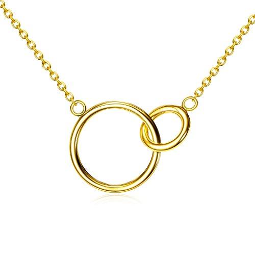 Lemondrop Gold over Sterling Silver Interlocking Circles Necklace (Circle Interlocking Sterling Silver)
