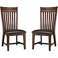 Imagio Home HY-CH-460C-RSE-RTA Hayden Slat Back Side chair w/PU seat, Set of 2