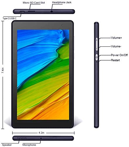 Pritom TronPad P7 PRO Tablet 7 inch - Android 9.0 Pie Tablet with 2GB RAM, 32 GB Storage, Quad Core Processor, HD IPS Display, Dual Camera, WiFi, Bluetooth, FM, GPS - Android Tablet