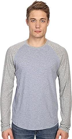 Vince Men's Long Sleeve Baseball Heather Denim/Heather Steel T-Shirt (Status Of A Returned Item)